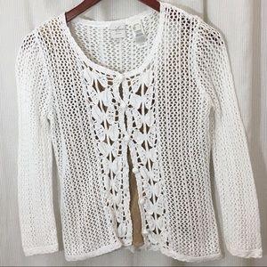 White Crochet Linen Cotton Sweater Petite Large